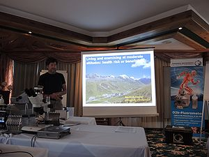 MitoFit Science Camp in July 2016 in Kuehtai, Tyrol, Austria: Martin Burtscher trying to answer the question whether living and exercising at moderate altitude is health risk or even benefit